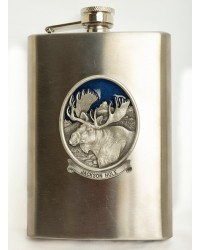 FLASK STAINLESS STEEL MOOSE PEWTER 8oz