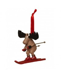 SKIING MOOSE CHRISTMAS ORNAMENT