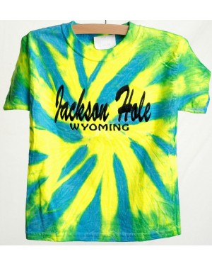 TEE SHORT SLEEVE EMBROIDERY JACKSON HOLE WYOMING TIE DYE