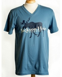 SHORT SLEEVE V-NECK T-SHIRT WALKING MOOSE BLUE