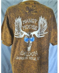 Moose Skull Mangy Moose Saloon S/S T-shirt Brown
