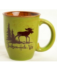 MUG TAPERED GLAZE MOOSE IN THE WOODS LEOPARD