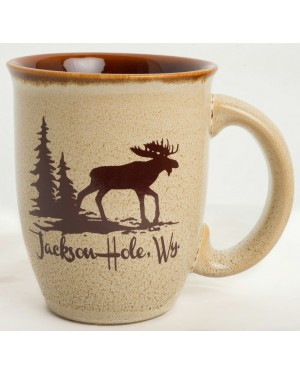 MUG TAPERED GLAZE MOOSE IN THE WOODS LEOPARD TAN