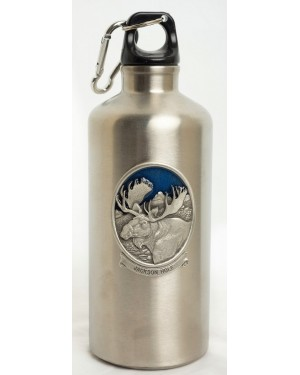WATER BOTTLE STAINLESS STEEL MOOSE PEWTER W/CARABINER