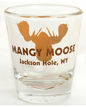 Shot Glass Mangy Moose Brown Clear