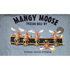 Short Sleeve T-Shirt Beware: Moose Dropping Steel Blue