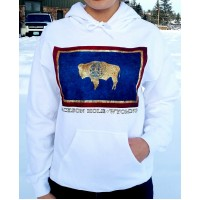 Sweatshirt Hooded WY Flag WHITE