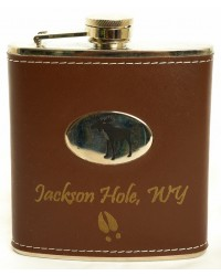 FLASK BROWN LEATHER MOOSE JACKSON HOLE, WY