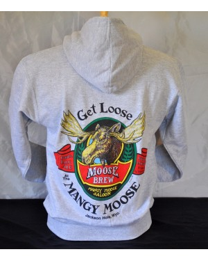 Get Loose Moose Brew Saloon Hooded Sweatshirt Pullover Grey