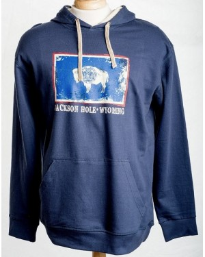 PULLOVER HOODED WY FLAG DISTRESSED WITH DRAWSTRINGS
