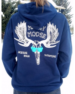 Sweatshirt Hooded Moose Skull NAVY