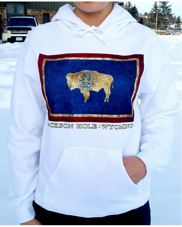 Sweatshirt Hooded Wy Flag White
