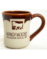 MUG MOOSE EMBOSSED GLAZE HALF MATTE BROWN
